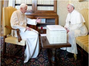 Pope Francis and Pope Benedict XVI.