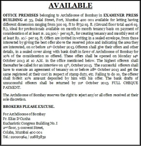 AD FOR LETTING OF PREMISES..