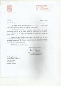 REPLY FROM ARCHBISHOP, EXAMINER PRESS BUILDING