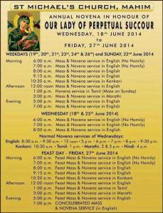 NOVENA TIMINGS FEAST NOVENA