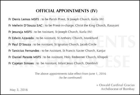 APPOINTMENTS IV